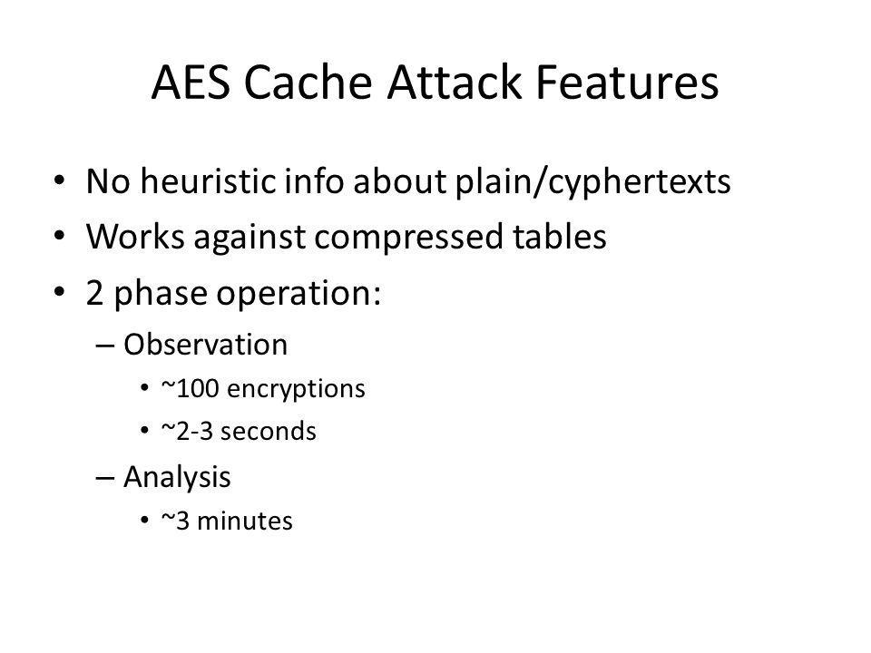 AES Cache Attack Features