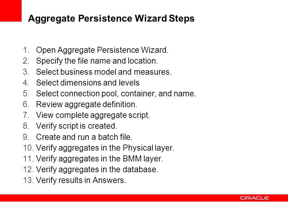 Aggregate Persistence Wizard Steps