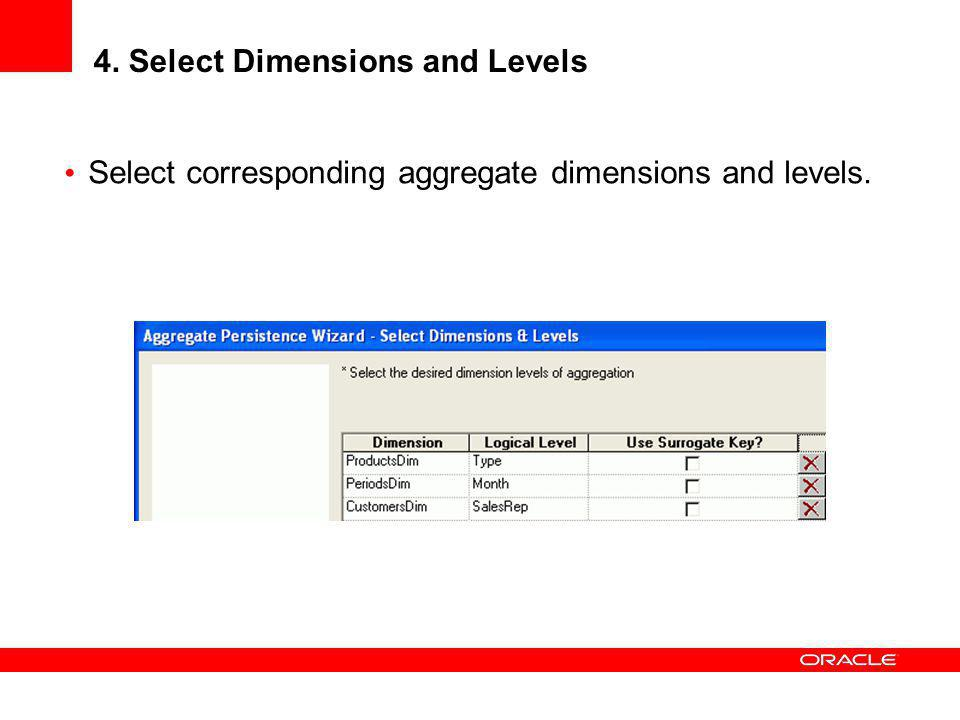 4. Select Dimensions and Levels
