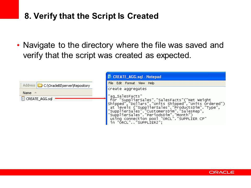 8. Verify that the Script Is Created