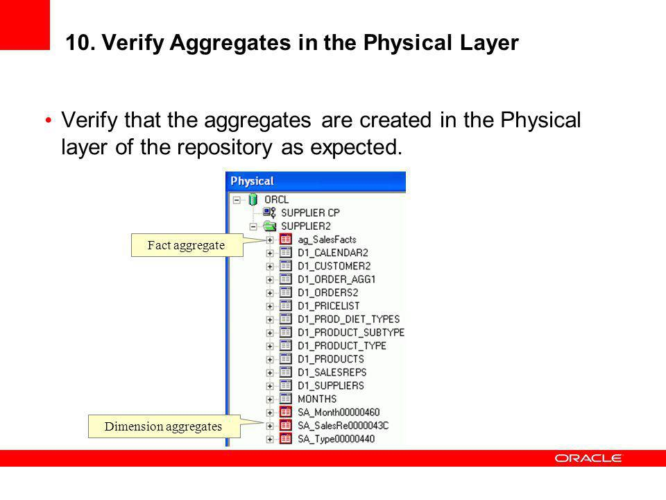 10. Verify Aggregates in the Physical Layer