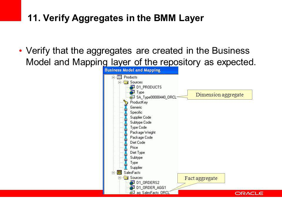 11. Verify Aggregates in the BMM Layer
