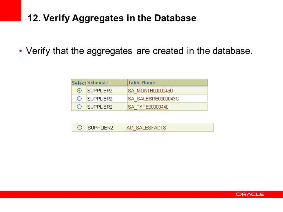 12. Verify Aggregates in the Database
