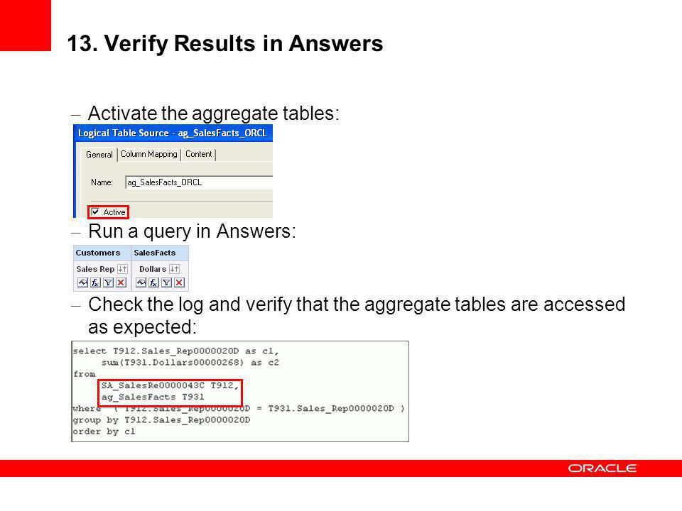 13. Verify Results in Answers