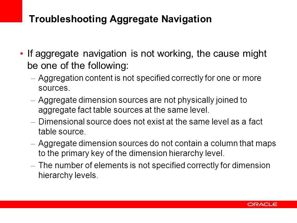 Troubleshooting Aggregate Navigation