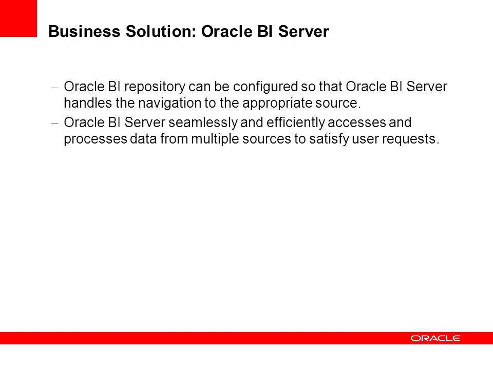 Business Solution: Oracle BI Server