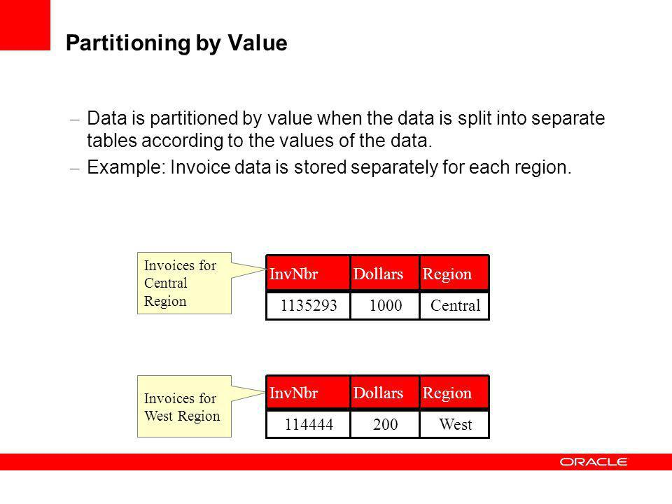 Partitioning by Value Data is partitioned by value when the data is split into separate tables according to the values of the data.