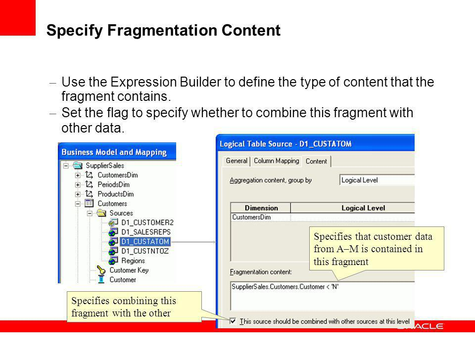Specify Fragmentation Content