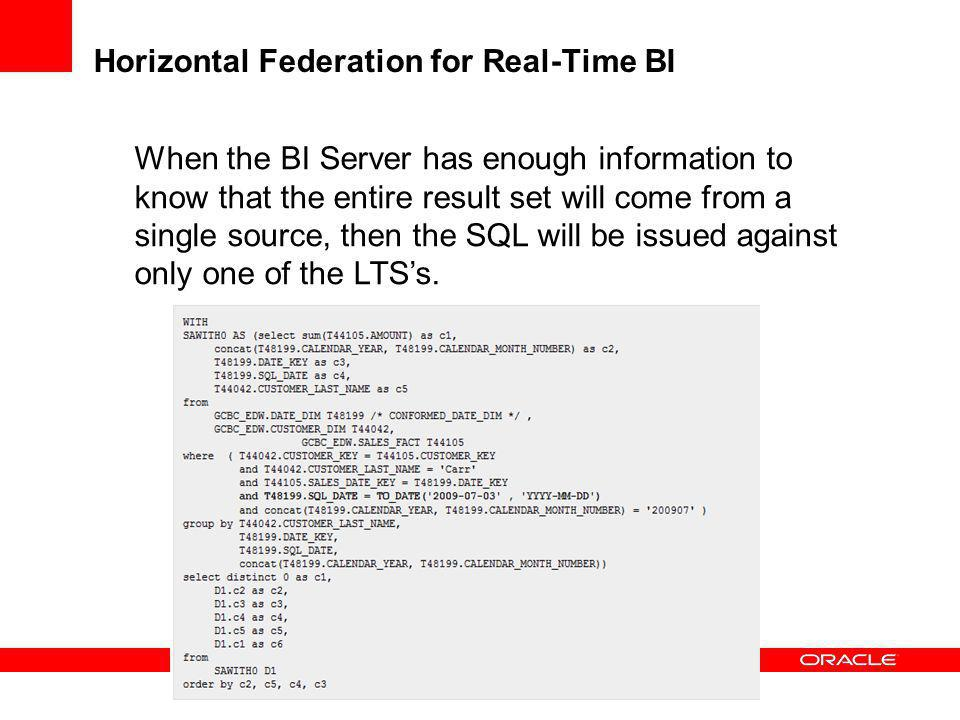 Horizontal Federation for Real-Time BI