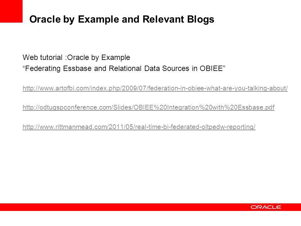 Oracle by Example and Relevant Blogs