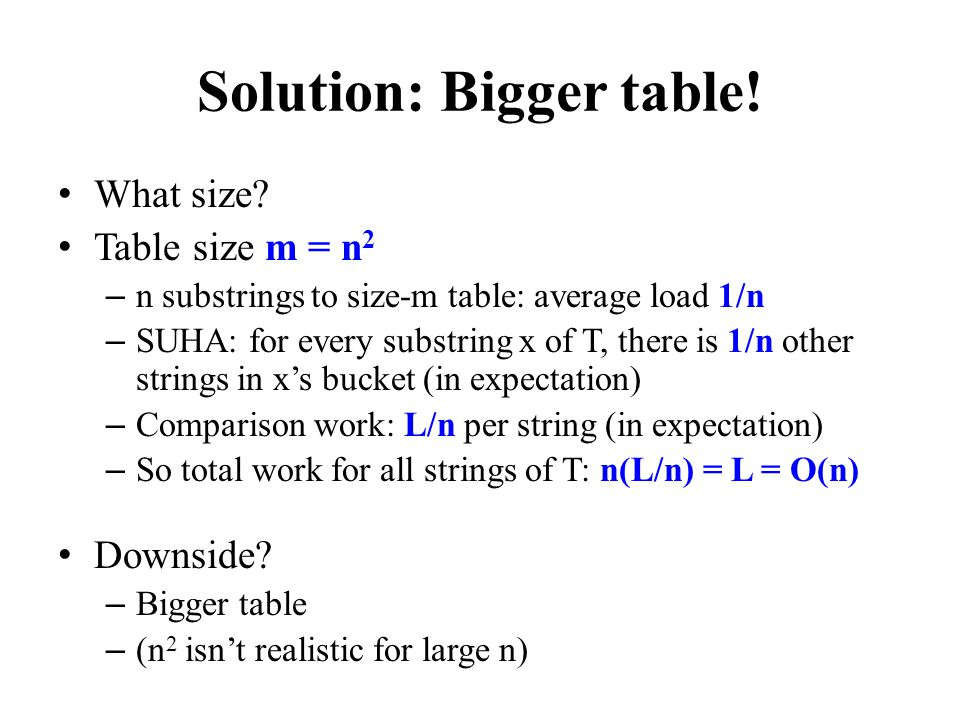 Solution: Bigger table!