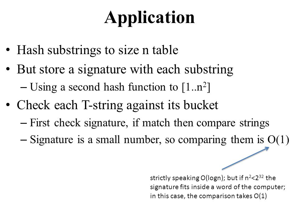 Application Hash substrings to size n table
