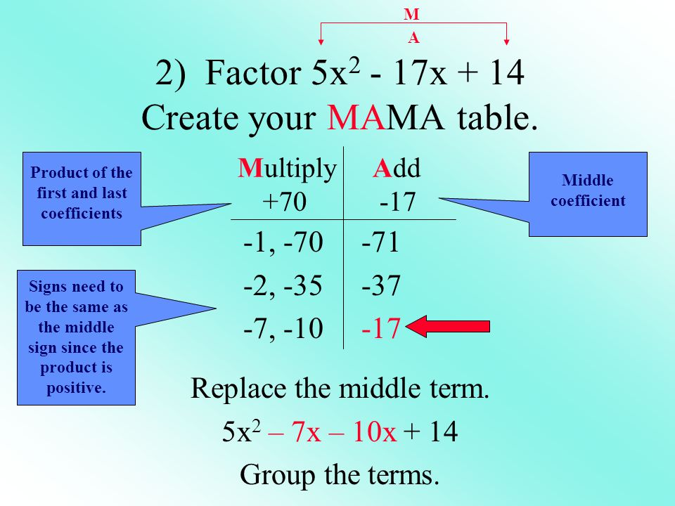 2) Factor 5x2 - 17x + 14 Create your MAMA table.