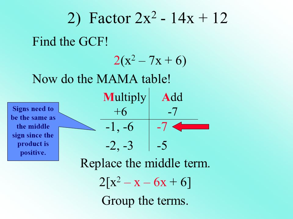 Find the GCF! 2(x2 – 7x + 6) Now do the MAMA table!