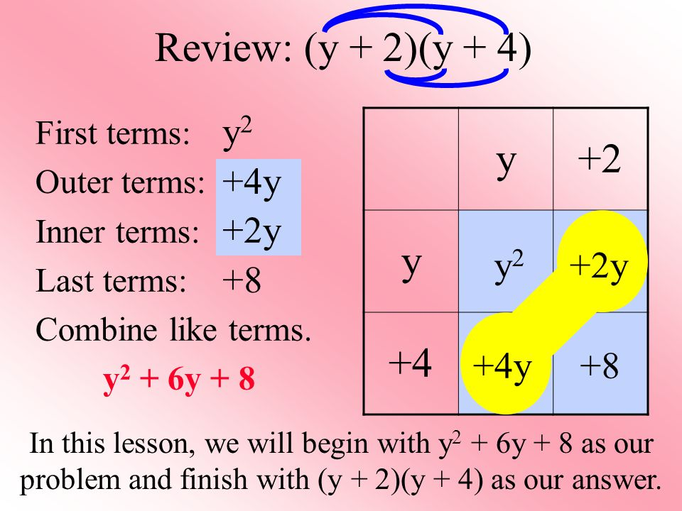 Review: (y + 2)(y + 4) y +2 +4 y2 +4y +2y y2 +2y +8 +4y +8