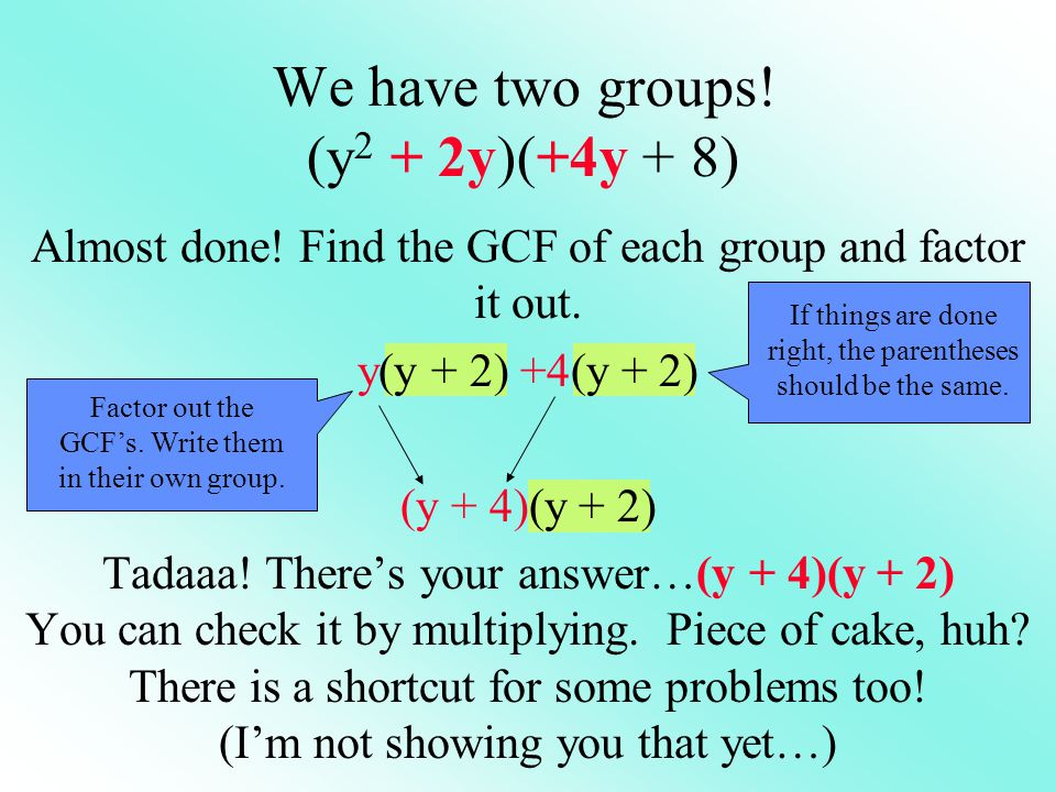 We have two groups! (y2 + 2y)(+4y + 8)