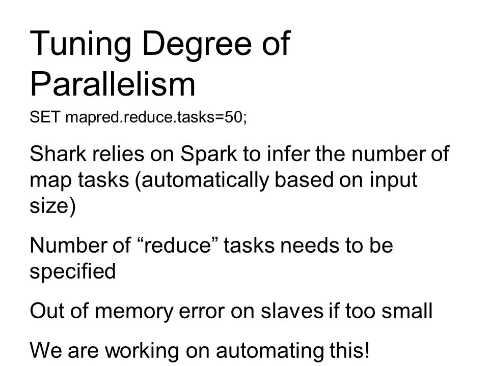 Tuning Degree of Parallelism