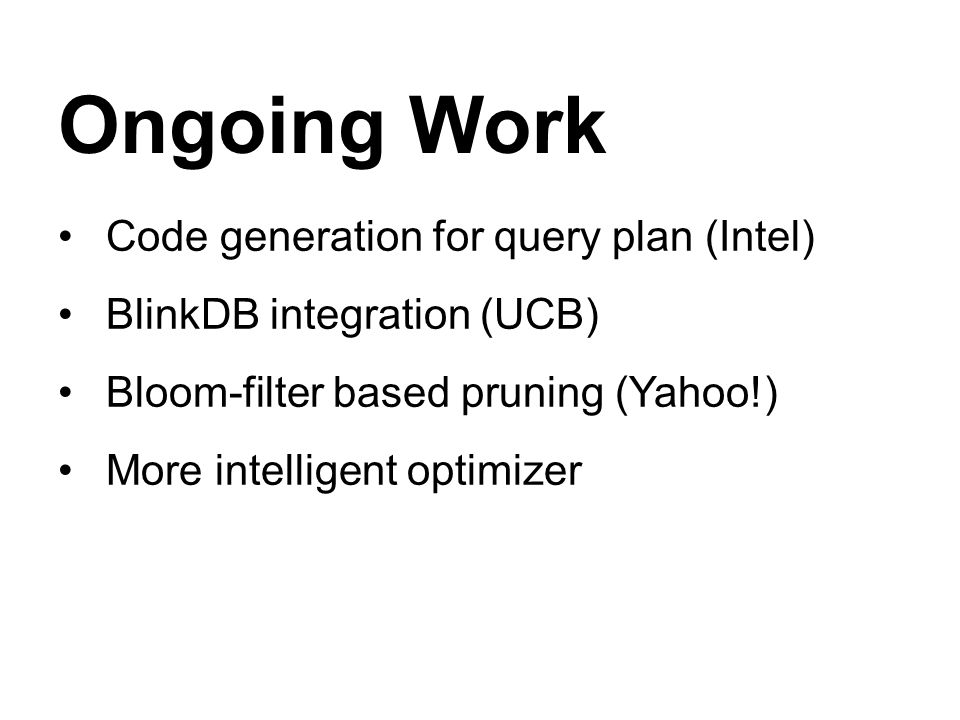 Ongoing Work Code generation for query plan (Intel)