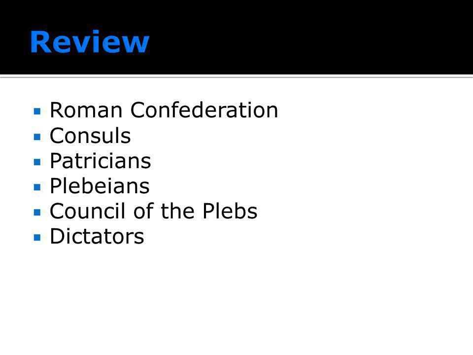 Review Roman Confederation Consuls Patricians Plebeians