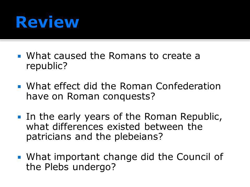Review What caused the Romans to create a republic