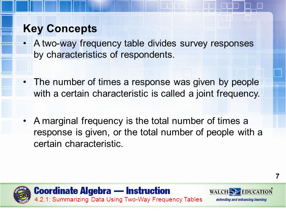 Key Concepts A two-way frequency table divides survey responses by characteristics of respondents.