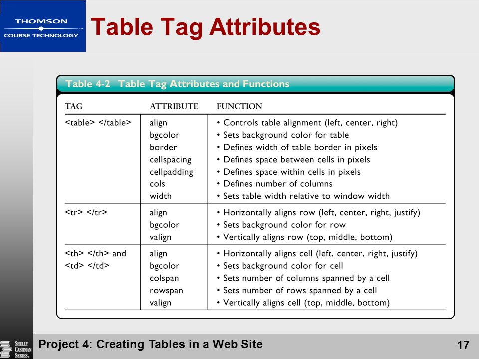 Creating tables in a web site ppt video online download for Table tag attributes in html