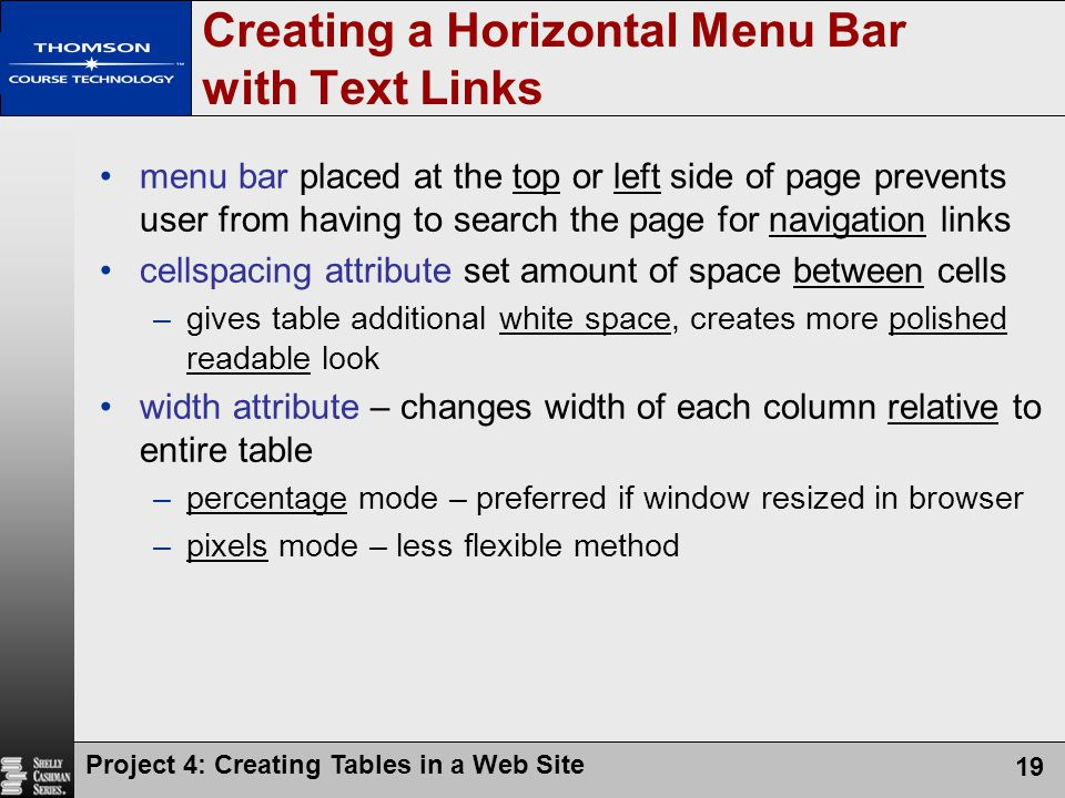 Creating a Horizontal Menu Bar with Text Links