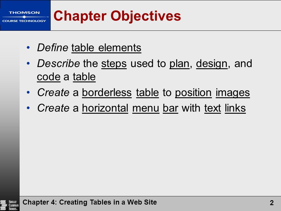 Chapter Objectives Define table elements