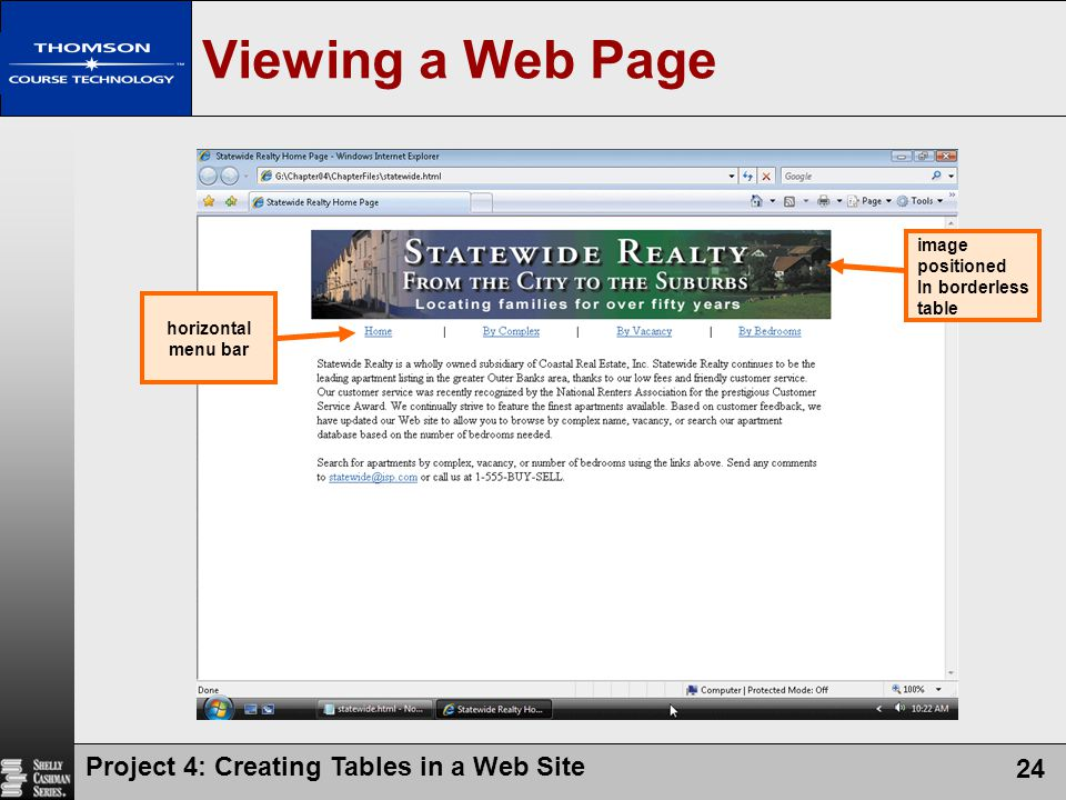 Viewing a Web Page Project 4: Creating Tables in a Web Site