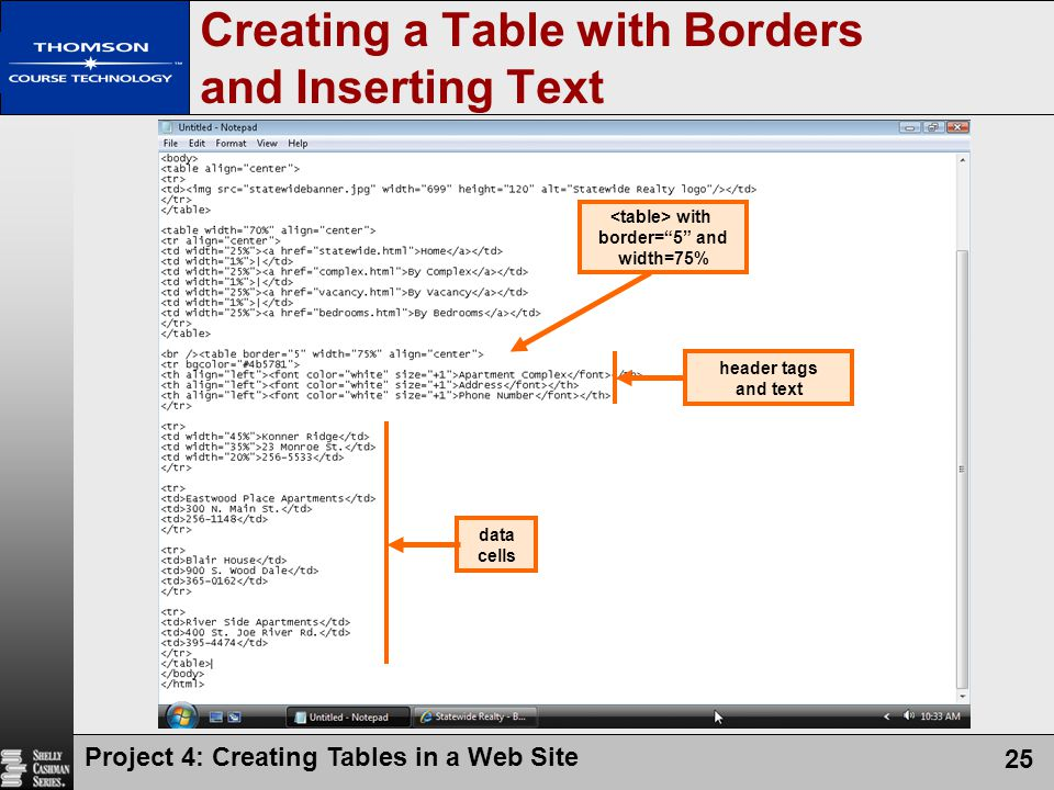 Creating a Table with Borders and Inserting Text
