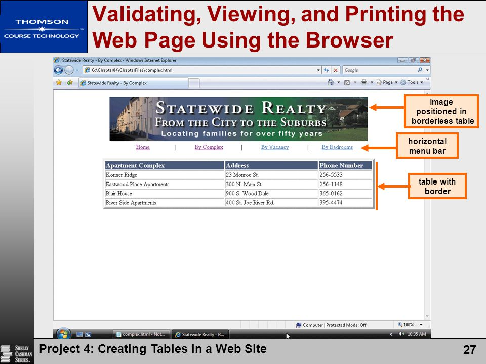 Validating, Viewing, and Printing the Web Page Using the Browser