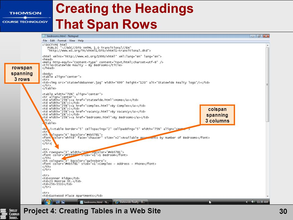 Creating the Headings That Span Rows