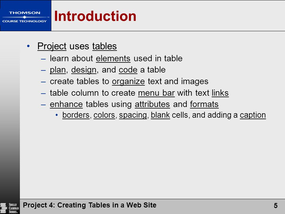 Introduction Project uses tables learn about elements used in table
