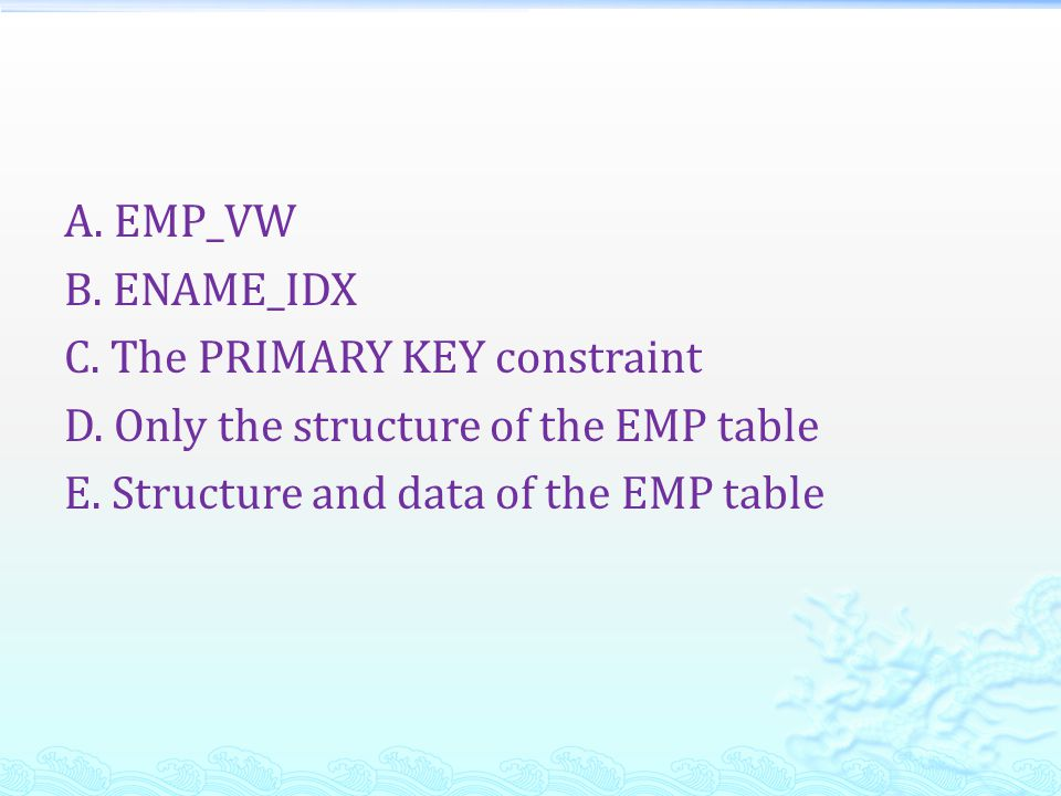 A. EMP_VW B. ENAME_IDX C. The PRIMARY KEY constraint D