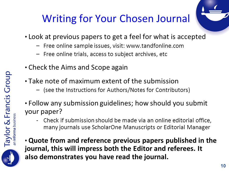 Writing for Your Chosen Journal