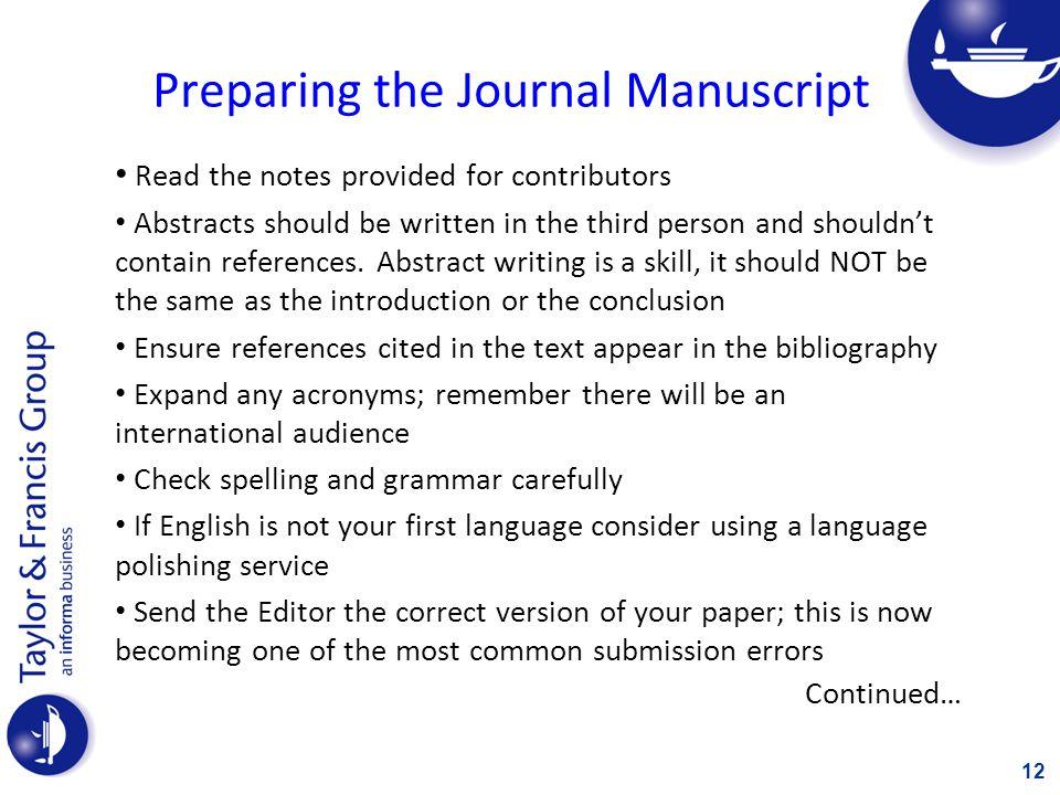 Preparing the Journal Manuscript