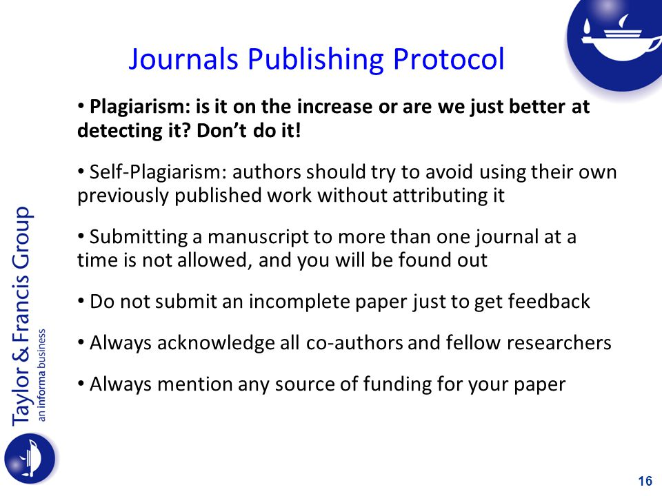Journals Publishing Protocol