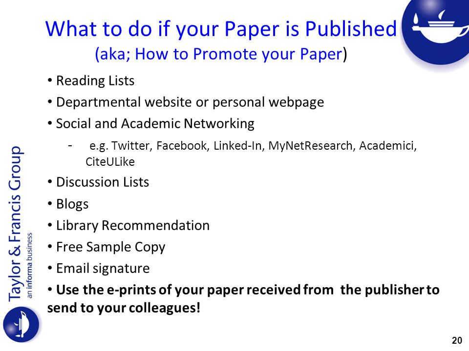What to do if your Paper is Published (aka; How to Promote your Paper)
