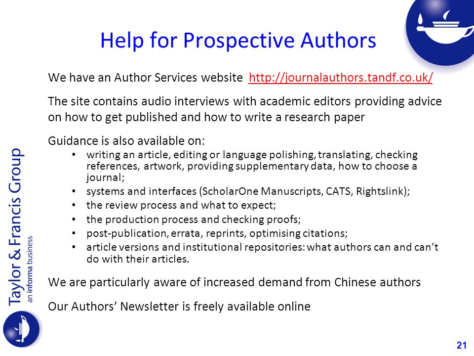 Help for Prospective Authors
