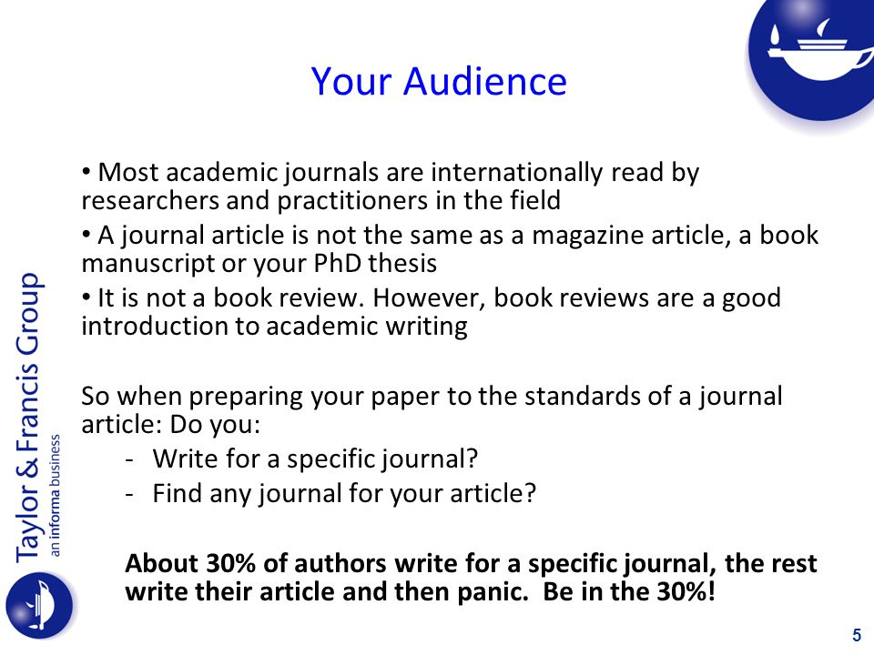 Your Audience Most academic journals are internationally read by researchers and practitioners in the field.