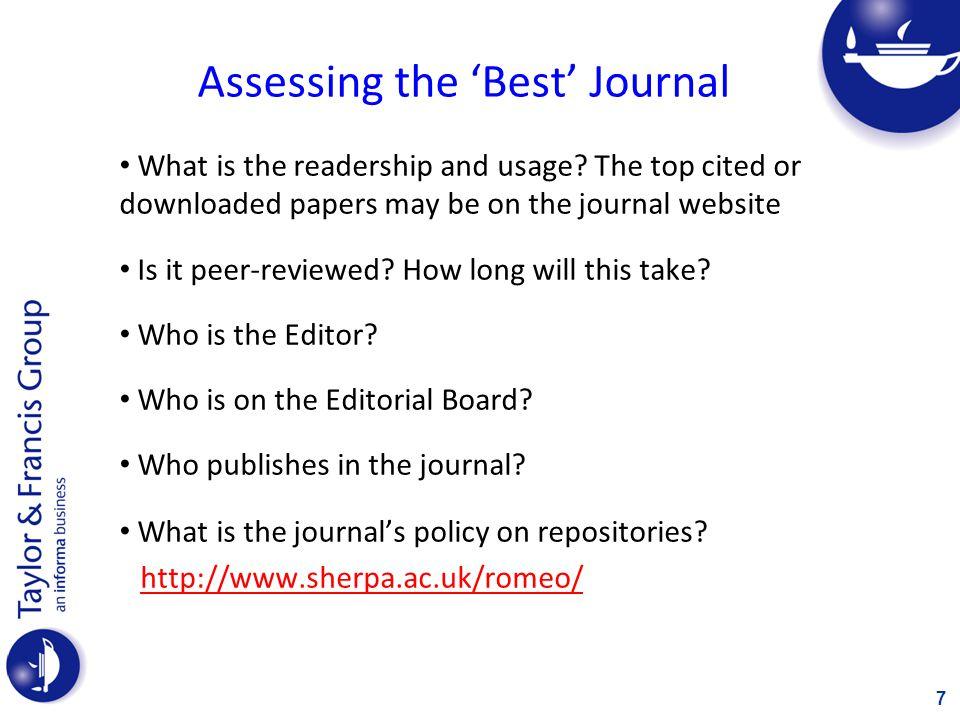 Assessing the 'Best' Journal