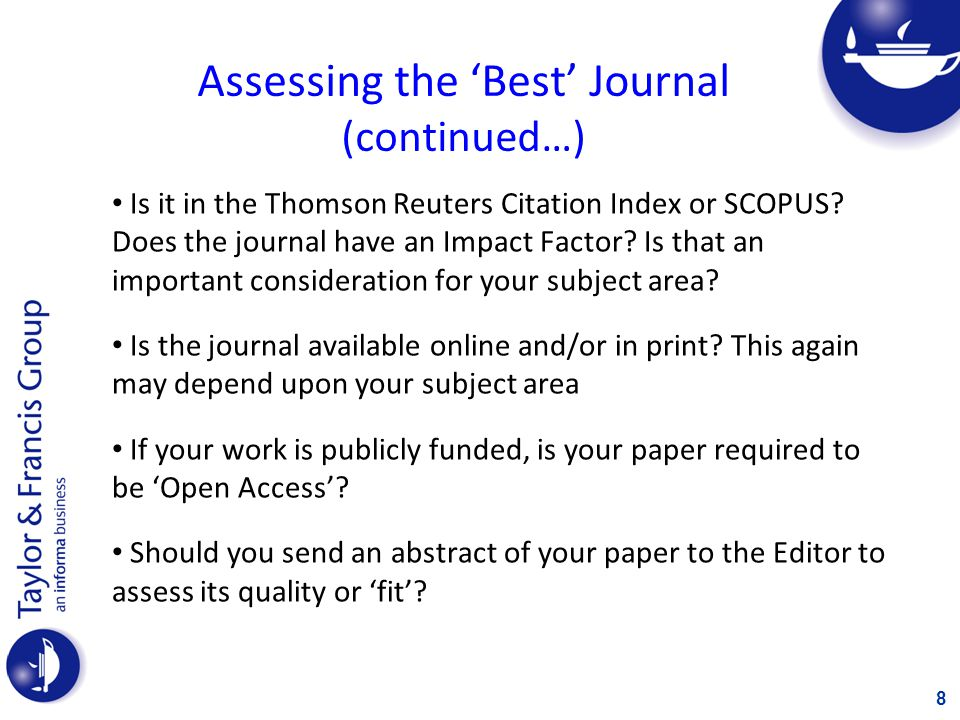 Assessing the 'Best' Journal (continued…)