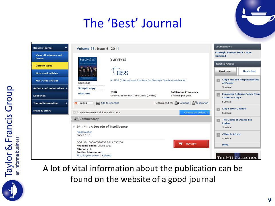 The 'Best' Journal A lot of vital information about the publication can be found on the website of a good journal.