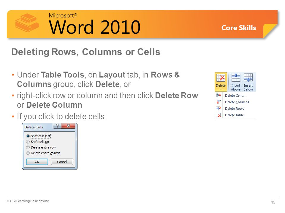 Deleting Rows, Columns or Cells