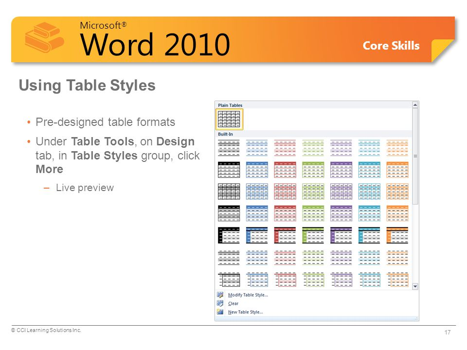 Using Table Styles Pre-designed table formats