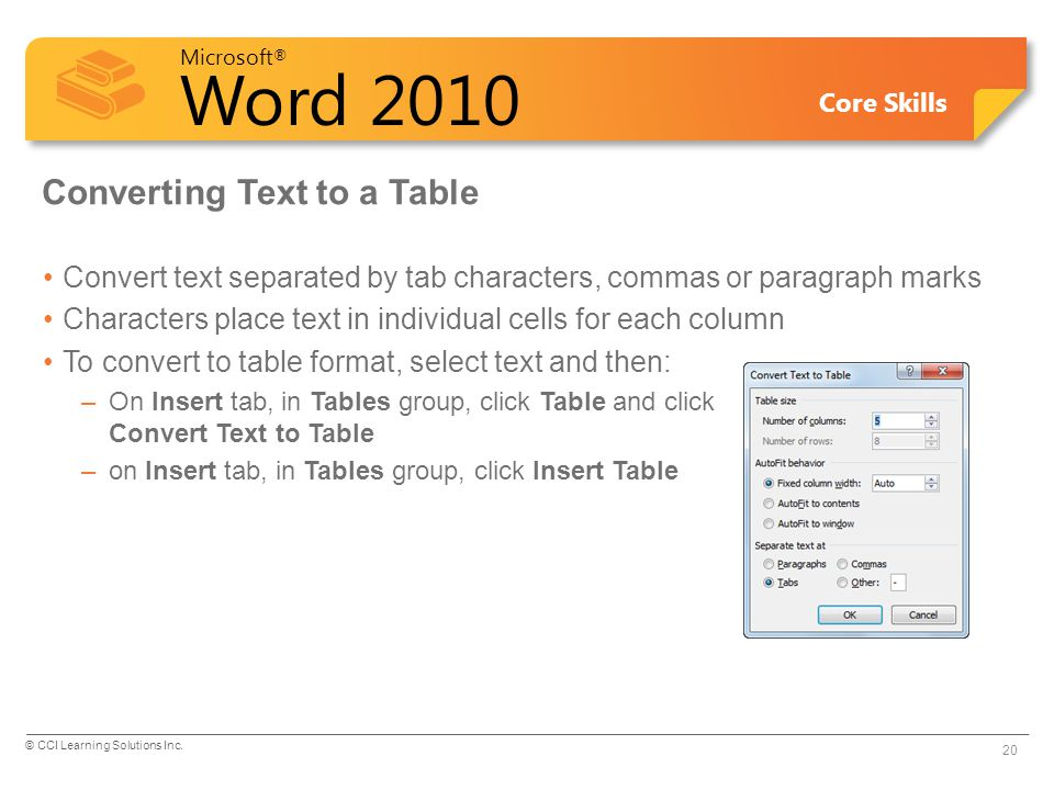 Converting Text to a Table
