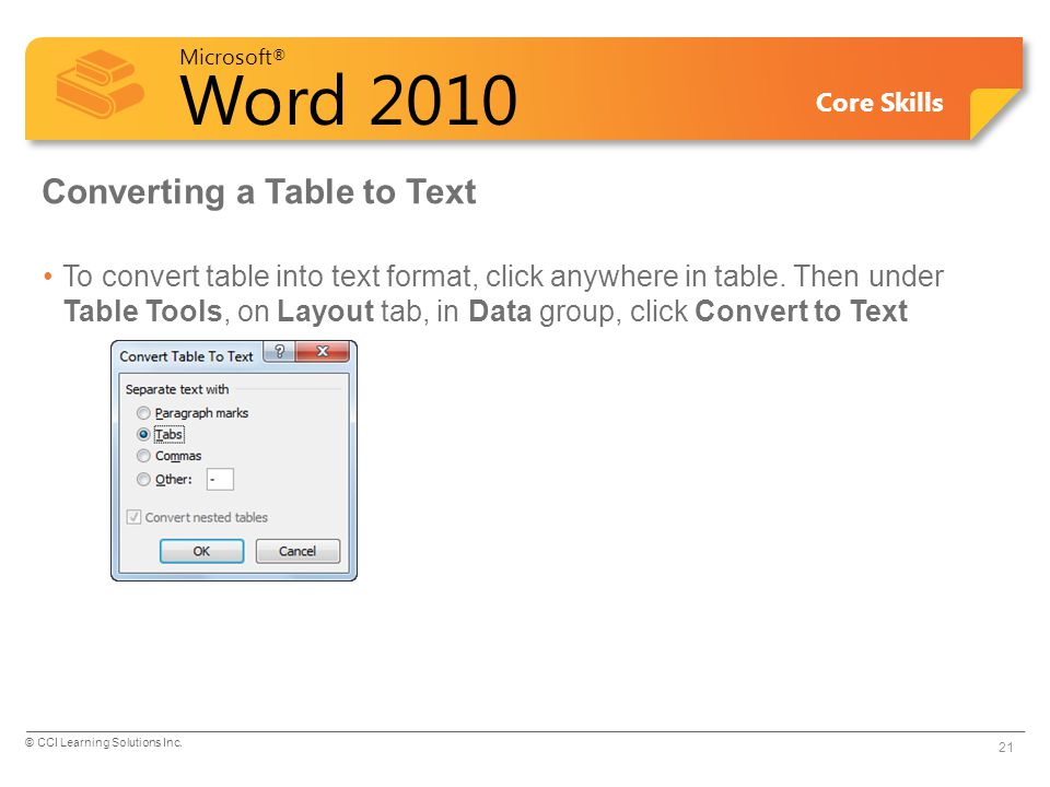 Converting a Table to Text