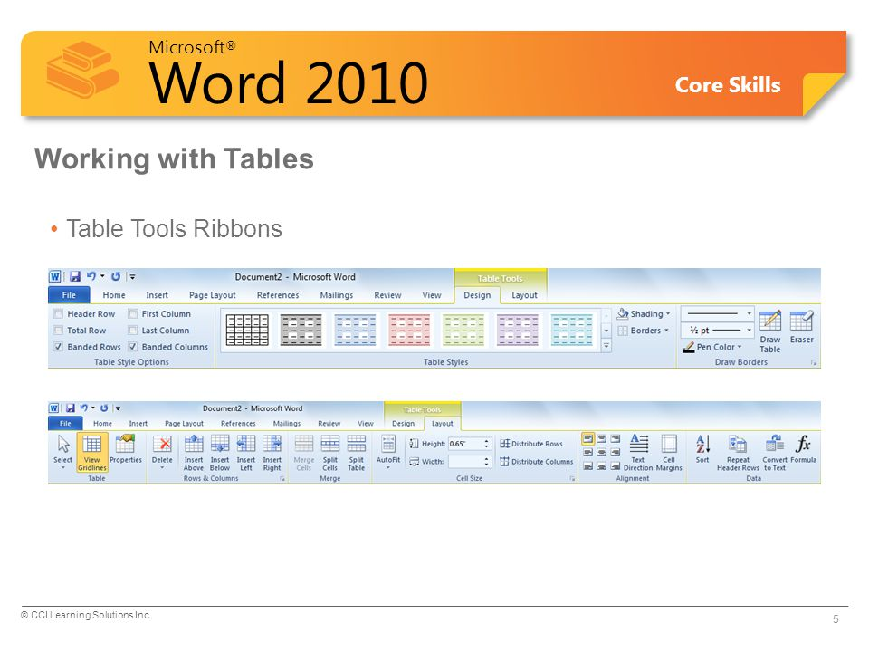 Working with Tables Table Tools Ribbons Pg 132 Objective 2.5