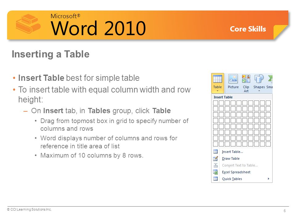 Inserting a Table Insert Table best for simple table