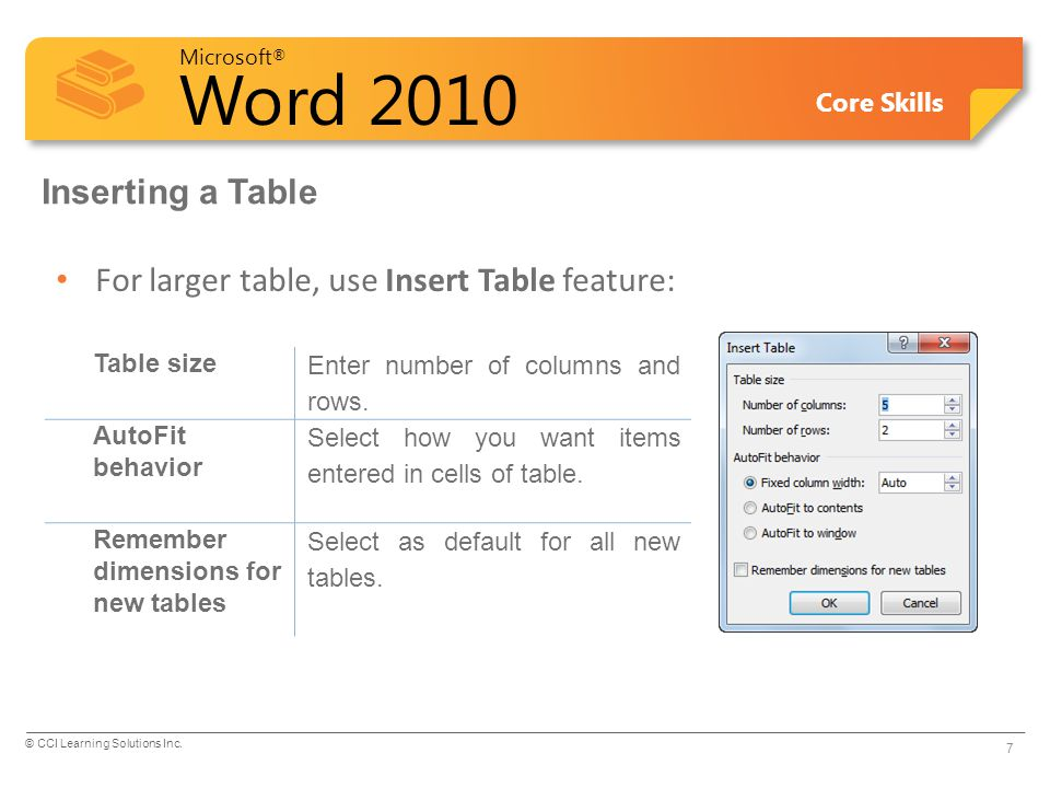 For larger table, use Insert Table feature: